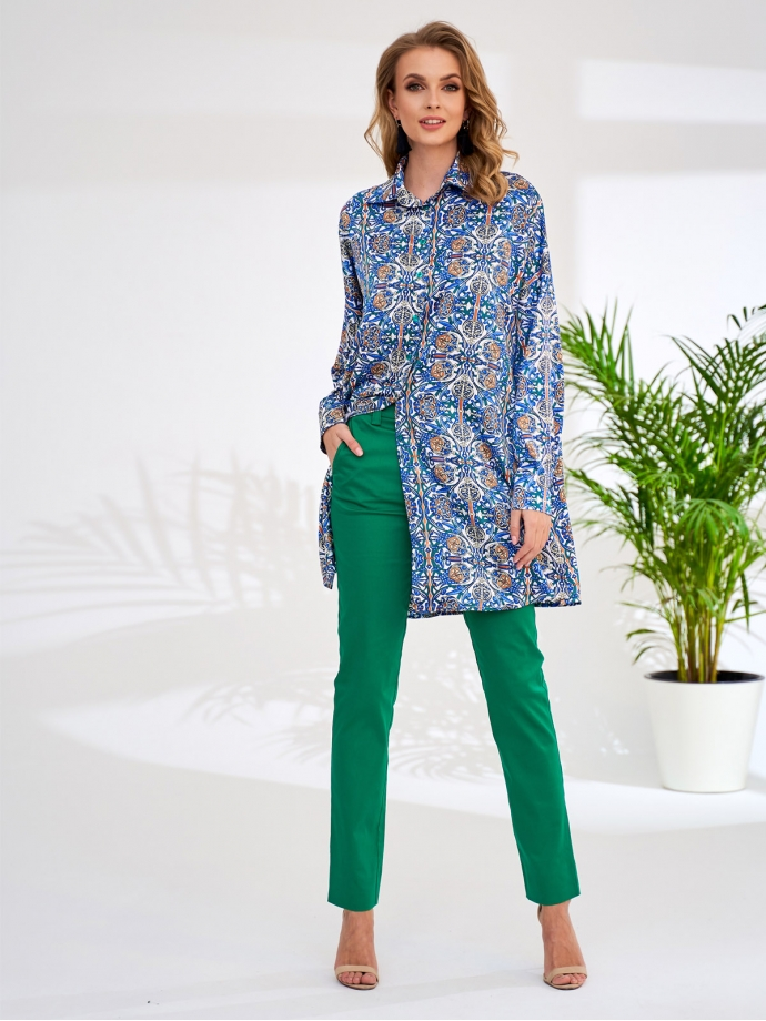 Шелковистая рубашка свободного кроя с ярким принтом