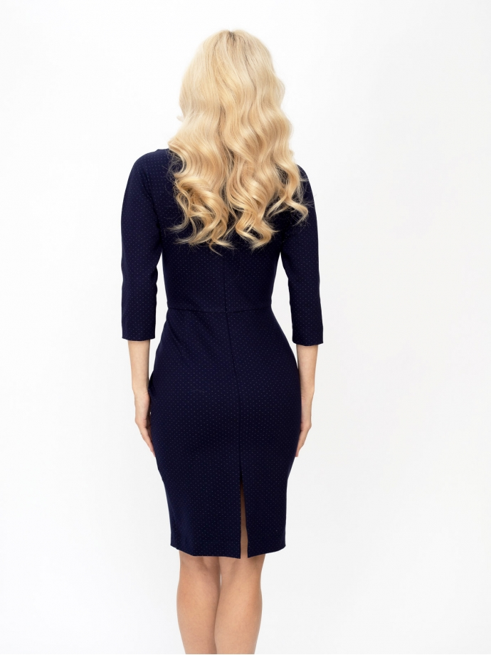 Трикотажное платье-футляр из джерси темно-синего цвета в белую точку