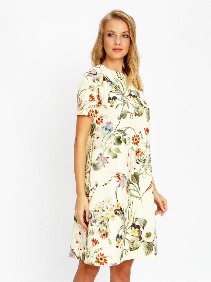 Платье А-силуэт бежевое