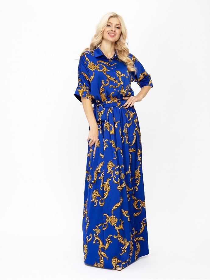 Платье королевско-синего цвета с золотым принтом длинное