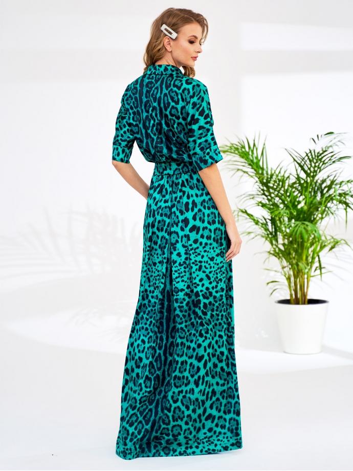 Платье изумрудно-зеленое длинное