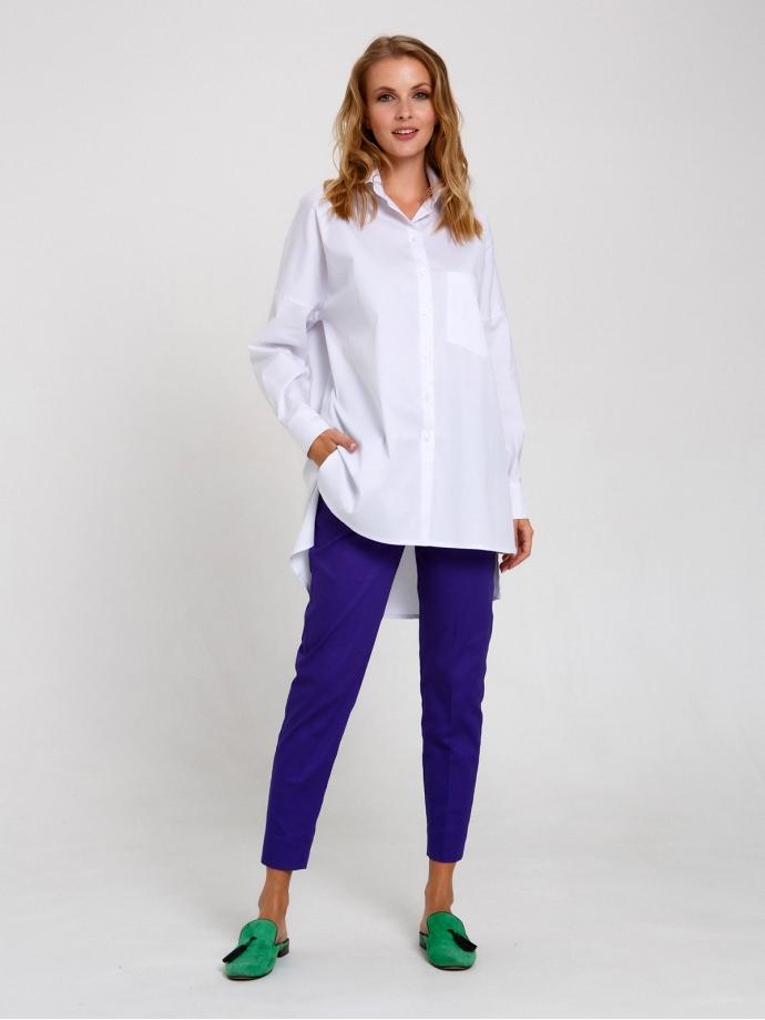 Рубашка свободного кроя белая с принтом