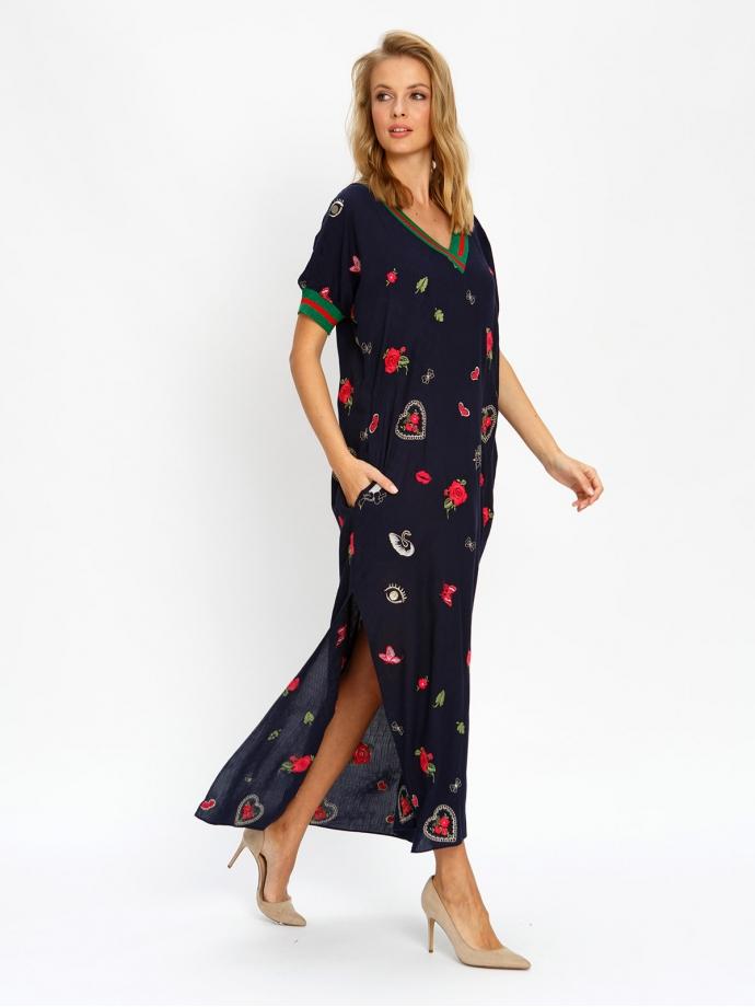 Платье с подвязами синее