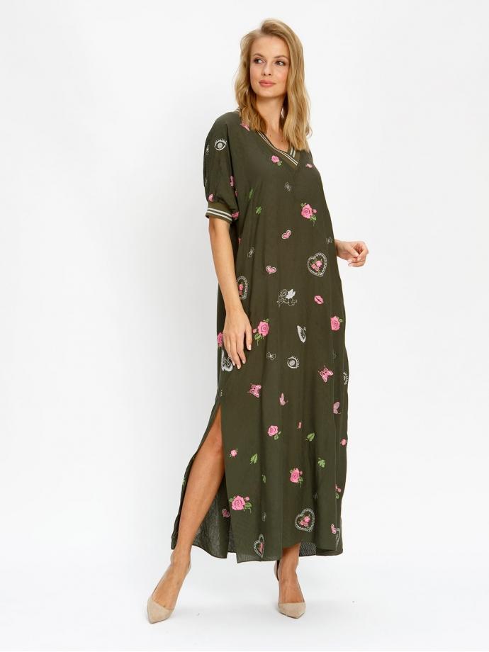Платье с подвязами зеленое