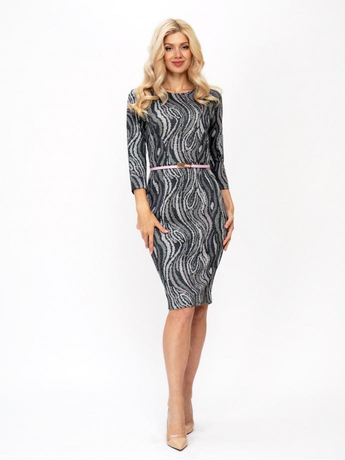 Трикотажное платье-футляр, принт Арабеска