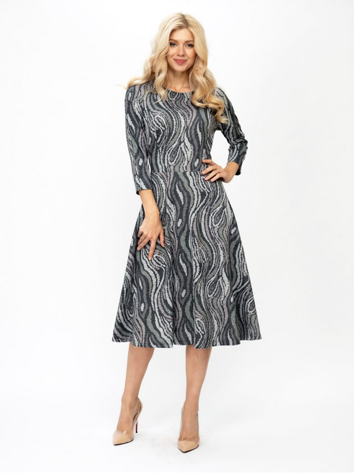 Трикотажное платье-волан, принт Арабеска
