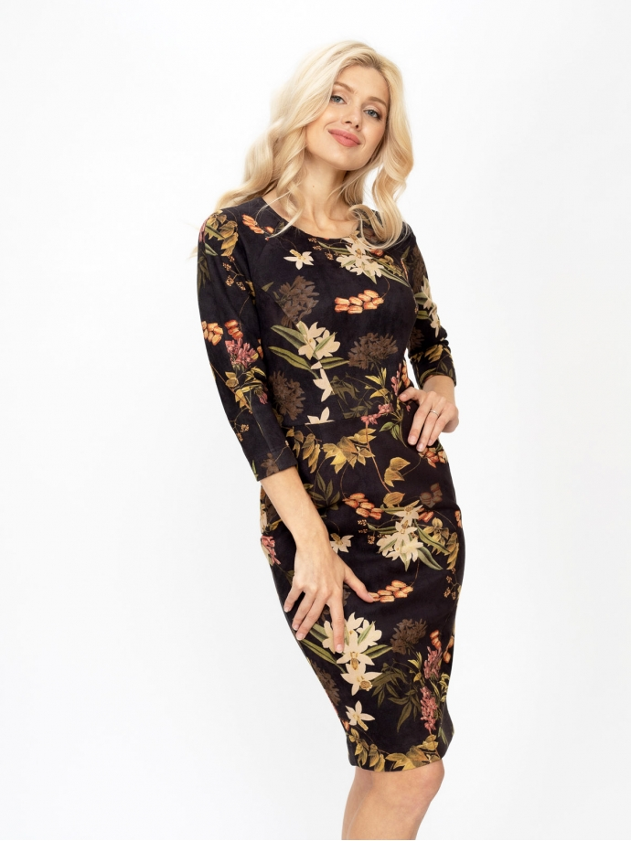 Платье-футляр из искусственной замши с цветочным принтом