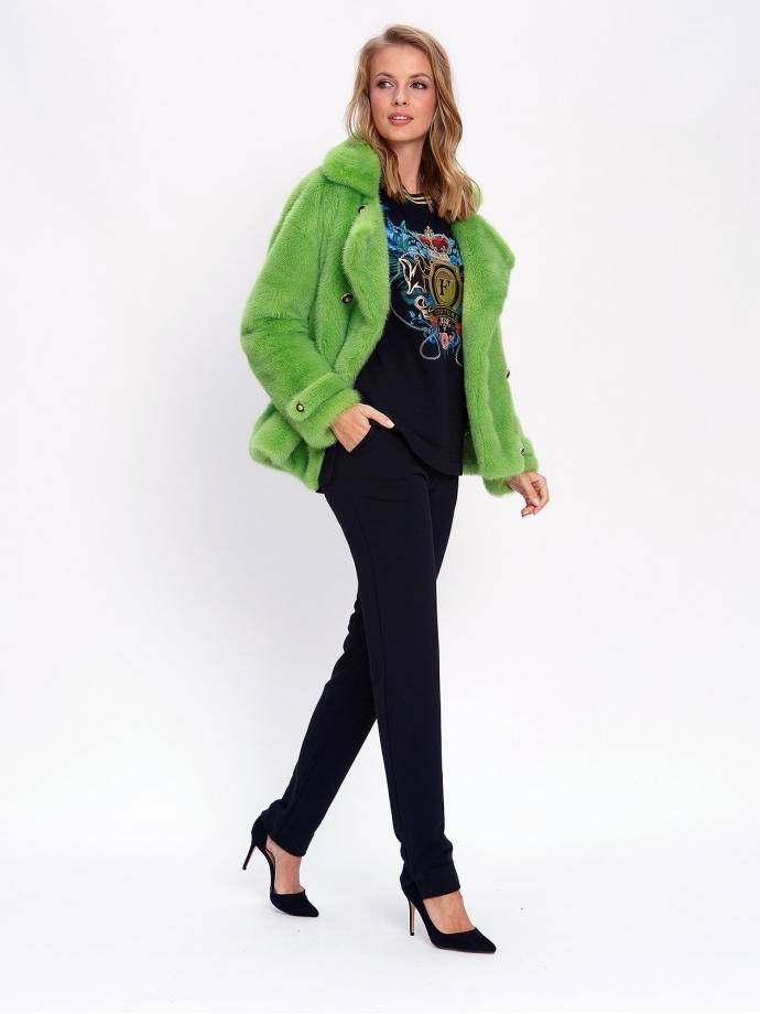 Куртка из меха норки зеленая